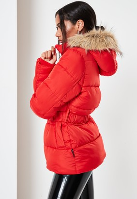 Missguided Red Faux Fur Hood Belted Puffer Coat