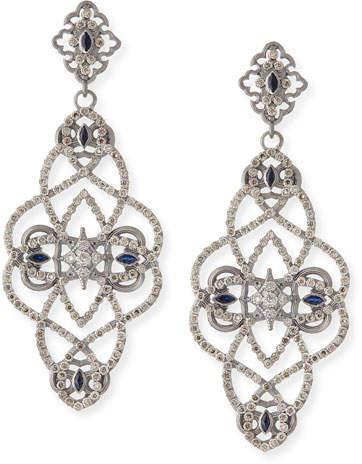 Armenta New World Diamond & Sapphire Scroll Earrings