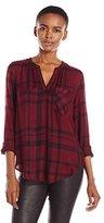 Calvin Klein Jeans Women's Long Sleeve Henley Popover Top