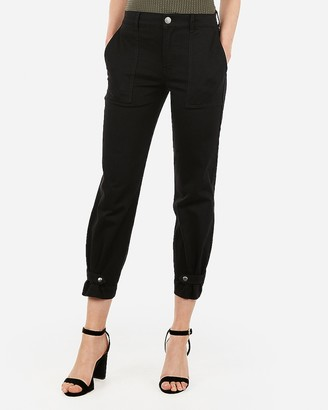 Express High Waisted Straight Cropped Cinched Hem Utility Pant