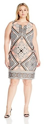 Notations Women's Plus Size Sleeveless Border Print Dress with Open Keyhole