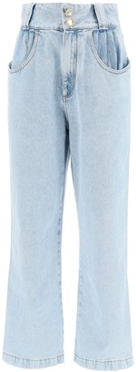 Alessandra Rich Crystal Button Wide Leg Jeans