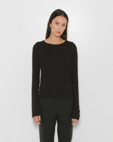 Alexander Wang Classic Cropped Long Sleeve Tee w/ Chest Pocket