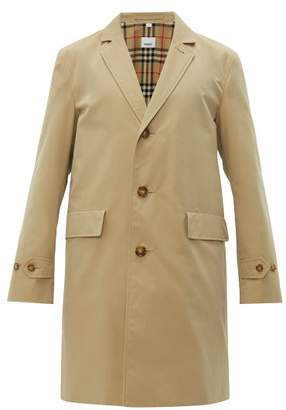 Burberry Single Breasted Cotton Gabardine Car Coat - Mens - Beige