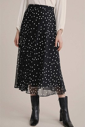 Witchery Georgette Spot Bias Skirt