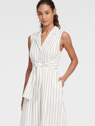 DKNY Women's Striped Shirtdress With Reversible Tie - Cream/Black - Size 00