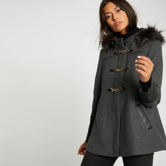 Morgan Wool Mix Mid-Length Coat with Faux Fur Hood and Pockets