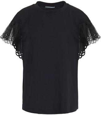 Alberta Ferretti Broderie Anglaise Organza-paneled Cotton-jersey T-shirt
