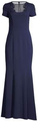 Aidan Mattox Illusion Short Sleeve Gown