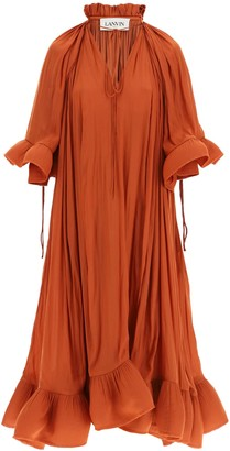 Lanvin LONG DRESS WITH RUFFLES 36 Brown, Red