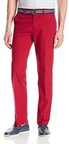 Haggar Men's Solid Stretch Belted Poplin Flat Front Straight Fit Pant, Dark Red, 33x32