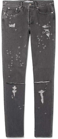 Givenchy Skinny-Fit Distressed Denim Jeans - Gray