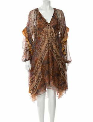 Chloé Silk Knee-Length Dress w/ Tags Orange