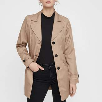 Vero Moda Abby Short Trench Coat with Single-Breasted Buttons