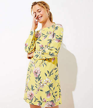 LOFT Petite Floral Boatneck Shift Dress