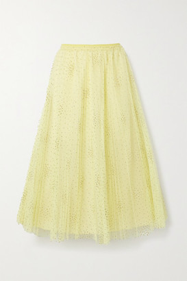 RED Valentino Glittered Polka-dot Pleated Tulle Midi Skirt - Pastel yellow