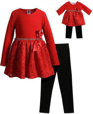 Dollie & Me Girls 4-10 Knit/Lace Dress with Legging with Matching Doll Set