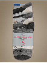 M&S Collection 5 Pair Pack Supersoft Ankle High Socks