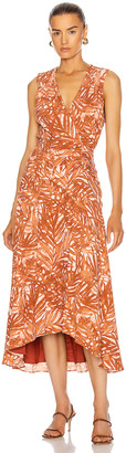 Jonathan Simkhai Priscilla Sleeveless Ruched Midi Dress in Toffee Palm | FWRD