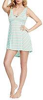 Betsey Johnson Metallic-Striped Tie-Back Hi-Low Chemise