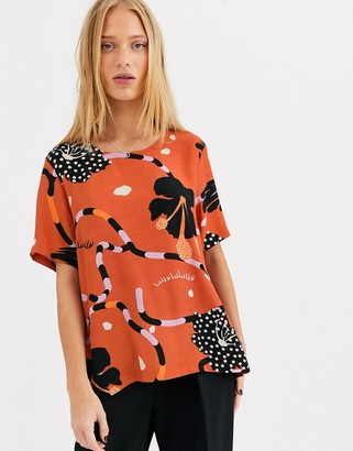 Selected printed short sleeve blouse-Orange