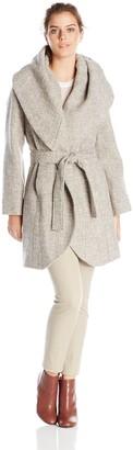 T Tahari Women's Marla Wool Tweed Wrap Coat