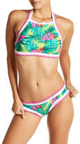 Betsey Johnson Printed Embroidered Trim Hipster Bikini Bottoms