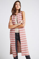 BCBGeneration Patterned Long Side Slit Open-Front Vest - Tandori Spice