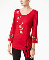 NY Collection Embroidered Tie-Front Top