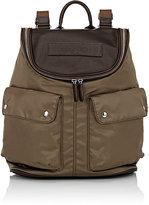 Felisi Men's Leather-Trimmed Backpack-DARK GREEN