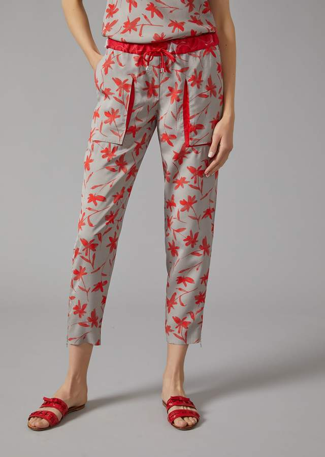 Giorgio Armani Trousers In Floral Cold Dye Canvas