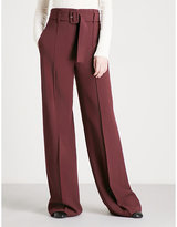 Theory Belted wide-leg crepe trousers