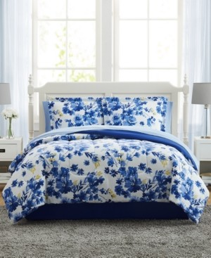Pem America Blue Watercolor Floral Twin Xl 6PC Comforter Set Bedding