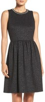 London Times Embellished Stretch Fit & Flare Dress