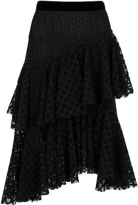 Philosophy di Lorenzo Serafini Black Tiered Crochet Lace Midi Skirt