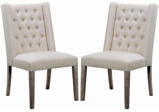 BEIGE Inverness Tufted Linen Upholstered Wingback Side Chair in Red Barrel Studio