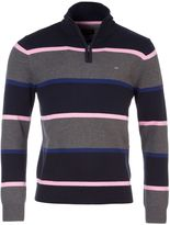 Eden Park Men's Striped Sweater With Zip-Up Collar