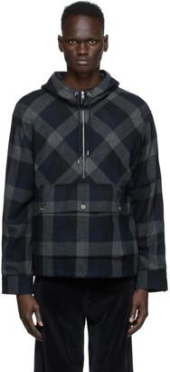 Kenzo Navy Wool Zip-Up Anorak Jacket