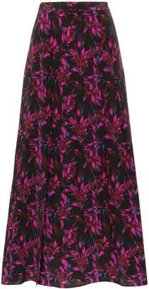 Les Rêveries high-waisted floral print front slit silk midi skirt