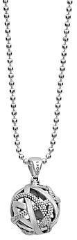 Lagos Sterling Silver Caviar Talisman Woven Knot Pendant Necklace, 34