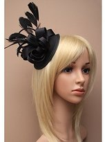 Inca Black Fascinator on Headband/ Clip-in for Weddings, Races and Occasions-5631