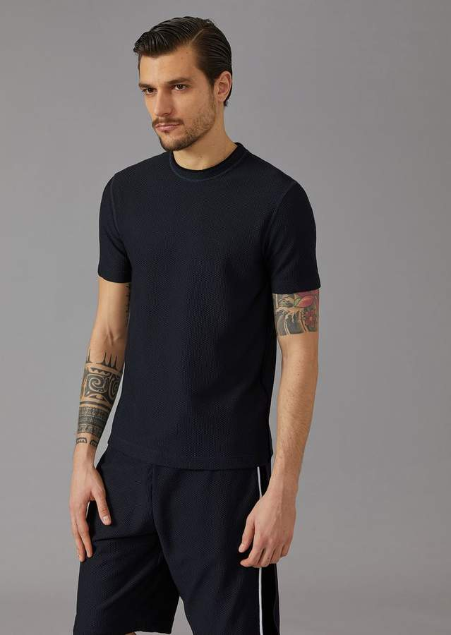 Giorgio Armani Mr. A T-Shirt In Embossed Honeycomb Jersey
