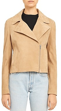 Theory Slim-Fit Suede Moto Jacket
