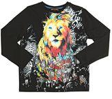 Roberto Cavalli Rock Lion Printed Cotton Jersey T-Shirt