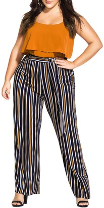 City Chic Golden Stripe Tie Waist Pants (Plus Size)
