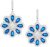 FANTASIA Faux Sapphire & Pave CZ Crystal Flower Drop Earrings