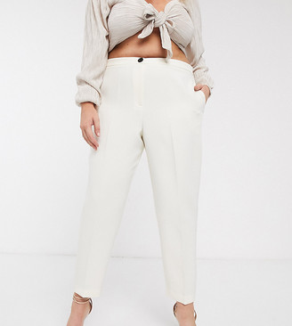 ASOS DESIGN Curve pop slim suit trousers in ivory