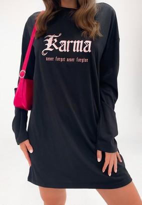 Missguided Black Karma Graphic Oversized T Shirt Dress