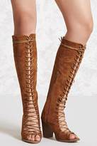 Forever 21 FOREVER 21+ Yoki Lace-Up Suede Tall Boots