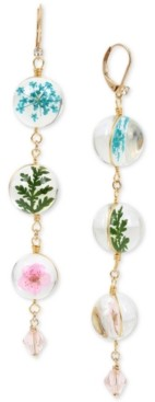 Betsey Johnson Gold-Tone Pave & Floral-Bead Linear Drop Earrings